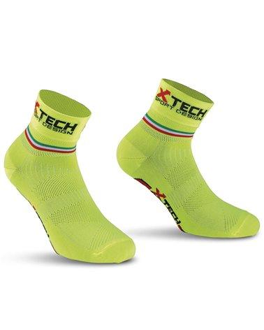 XTech Ciclo Pro Calze Ciclismo, Giallo Fluo