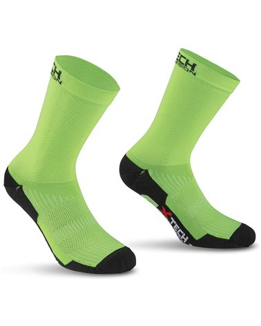 XTech Calze Ciclismo Professional Carbon, Verde Fluo