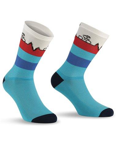 XTech XT157 Ciclyng Socks, Light Blue/Red
