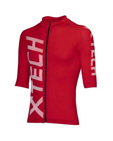 XTech Speed Men's Cycling Full Zip Short Sleeve Jersey, Red