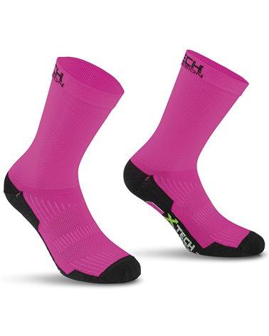 XTech Bike Socks Professional Carbon, Fuchsia