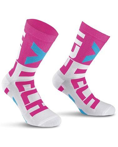 XTech XT132 Cycling Socks, White/Fuchsia
