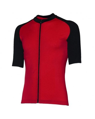 XTech Podium Men's Cycling Full Zip Short Sleeve Jersey, Red/Black