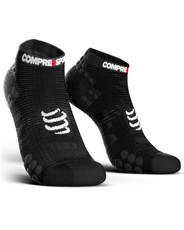 Compressport Pro Racing Socks V3.0 Run Low Cut Calze a Compressione, Nero