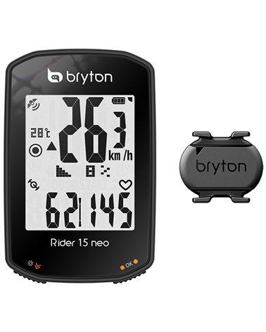Bryton Rider 15 Neo C GPS Ciclocomputer con Sensore Cadenza ANT+/Bluetooth, Nero