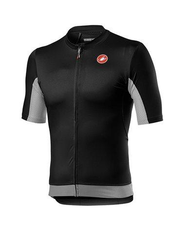 Castelli Vantaggio Men's Short Sleeve Cycling Jersey, Light Black/Silver Gray