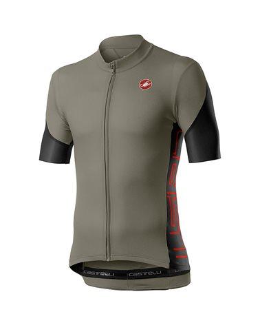 Castelli Entrata V Men's Short Sleeve Cycling Jersey, Bark Green/Light Black/Fiery Red