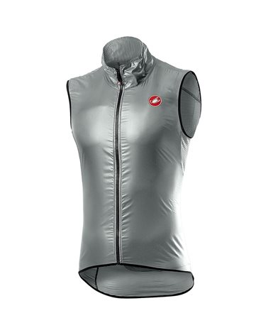 Castelli Aria Windproof Men's Cycling Packable Vest, Silver Gray