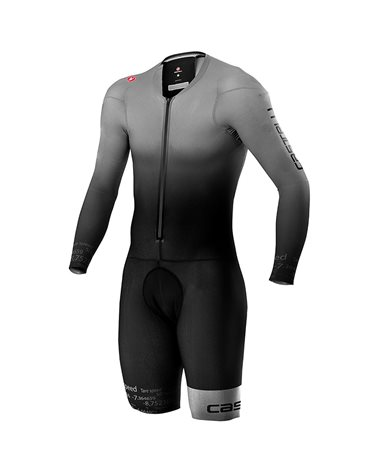 Castelli Body Paint 4.X Speed Suit Rosso Corsa Ciclismo Maniche Lunghe Uomo, Silver Gray/Black