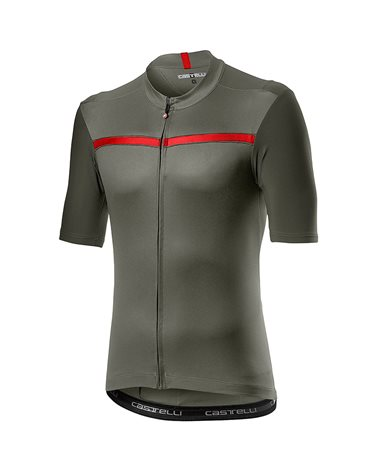 Castelli Unlimited Maglia Maniche Corte Full Zip Uomo, Forest Gray/Red