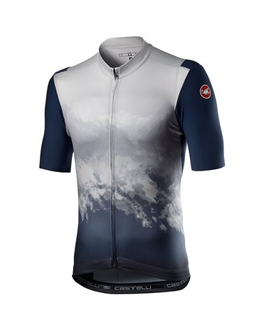 Castelli Polvere Printed Men's Full Zip Short Sleeve Cycling Jersey, Dark Gray