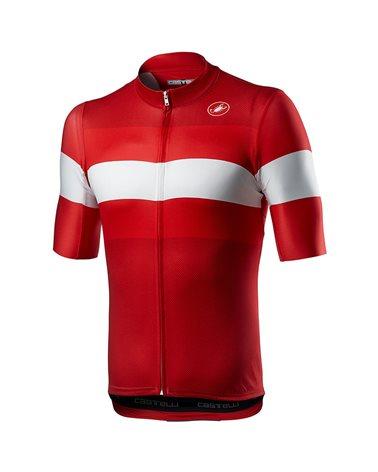 Castelli LaMitica Men's Full Zip Short Sleeve Cycling Jersey, Red