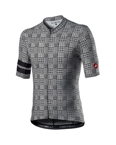 Castelli Maison Men's Full Zip Short Sleeve Cycling Jersey, Black/White
