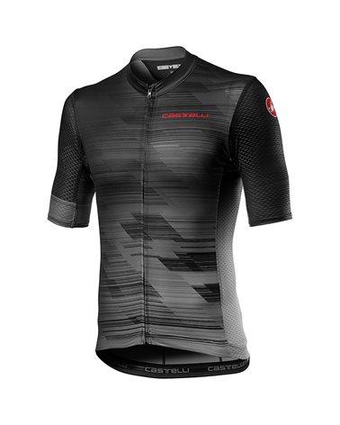Castelli Rapido Men's Full Zip Short Sleeve Cycling Jersey, Dark Gray