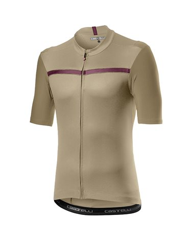 Castelli Unlimited Maglia Maniche Corte Full Zip Uomo, Dark Sand/Bordeaux