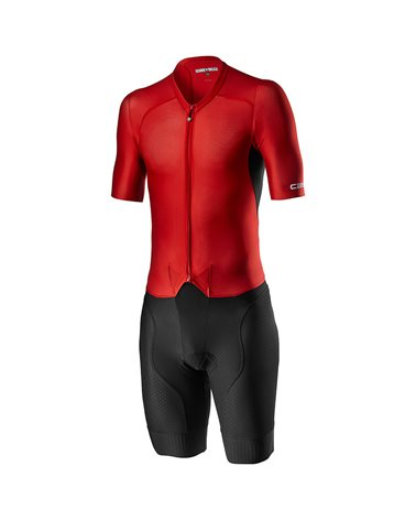 Castelli Sanremo 4.1 Rosso Corsa Men's Cycling Speed Suit, Black/Red (Progetto X2 Air Seamless Pad)
