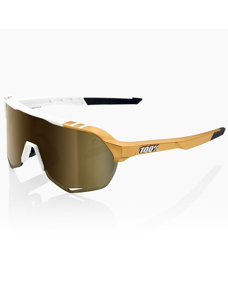 100% Occhiali S2 Peter Sagan LE White Gold - Soft Gold Mirror + Lente Clear