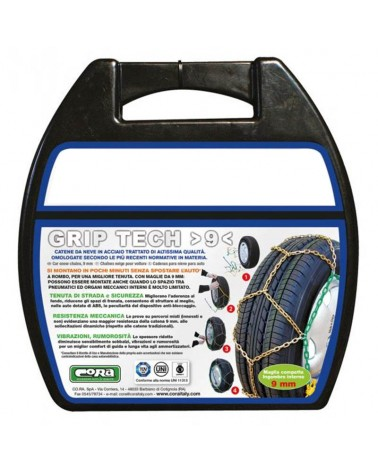 Snow Chains for Car Tyres 185/60-16 R16 Special Mesh, 9 mm, Approved