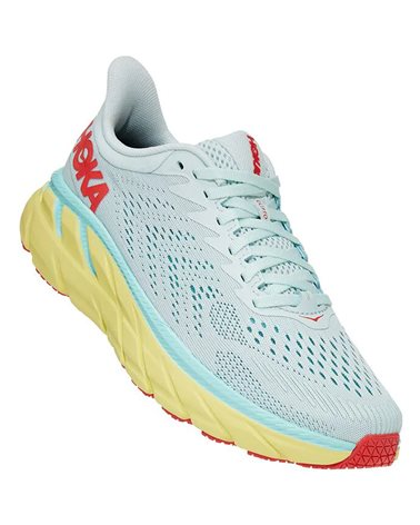 Hoka One One Clifton 7 Women's Running Shoes, Morning Mist/Hot Coral