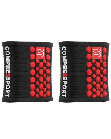 Compressport Sweatband 3D Dots Polsini Multisport, Nero/Rosso (Coppia - Taglia Unica)