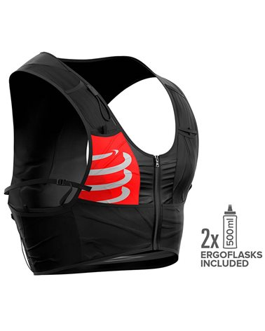 Compressport Ultrun Hydration Trail Running Pack/Vest, Black (2 500 ml Ergo Flasks Included)