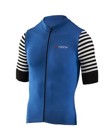 XTech Stripe Full Zip Maglia Maniche Corte Uomo, Blu