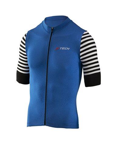 XTech Stripe Men's Cycling Full Zip Short Sleeve Jersey, Blue