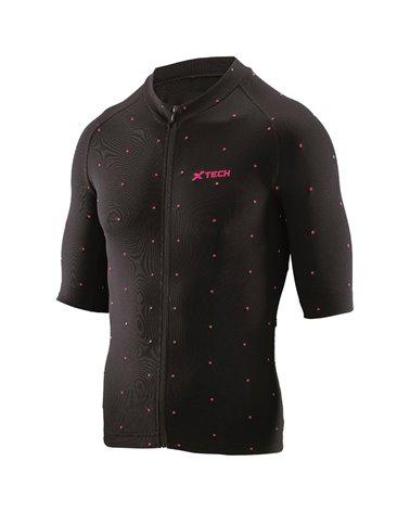XTech Star Men's Cycling Full Zip Short Sleeve Jersey, Black/Fuchsia