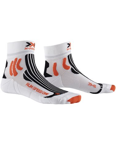 X-Bionic X-Socks Run Speed One Running Socks, Arctic White/Sunset Orange