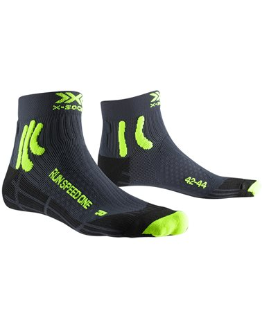 X-Bionic X-Socks Run Speed One 4.0 Running Socks, Charcoal/Phyton Yellow/Black