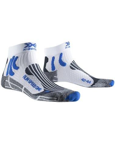 X-Bionic X-Socks Run Speed One 4.0 Running Socks, White/Twyce Blue/Grey Melange