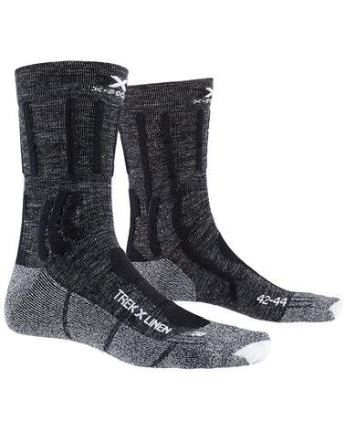 X-Bionic X-Socks Trek X Linen Trekking Socks, Dolomite Grey Melange/Opal Black