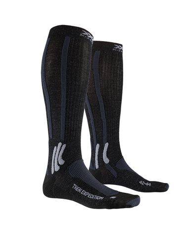 X-Bionic X-Socks Trek Expedition Calze Trekking, Opal Black/Dolomite Grey Melange