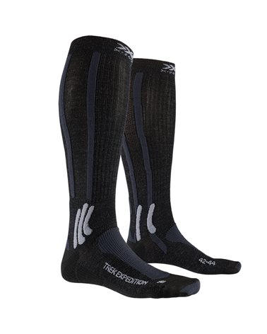 X-Bionic X-Socks Trek Expedition Trekking Socks, Opal Black/Dolomite Grey Melange