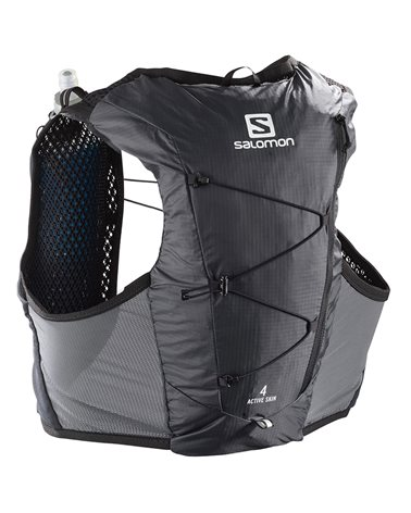 Salomon Active Skin 4 Set Hydration Running Pack/Vest, Ebony/Black (2 500 ml Soft Flask Included)