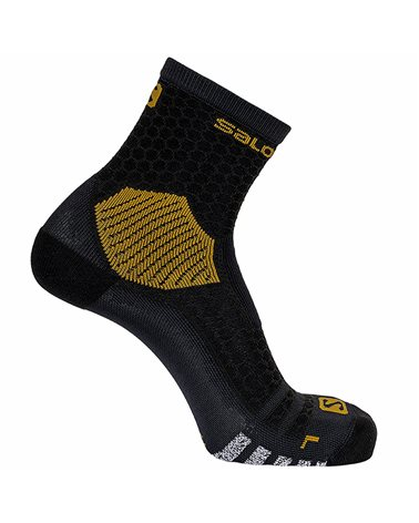 Salomon NSO Long Run Crew Running Socks, Black/Gold
