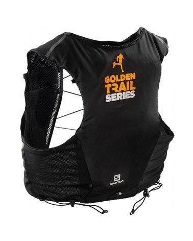 Salomon ADV Skin 5 Set Zaino Gilet Idrico Running, Black/Autumn Blaze (2 Soft Flask da 500 ml Incluse)