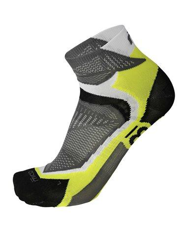 Mico Run X-Performance X-Light Short Socks, White/Fluo Yellow