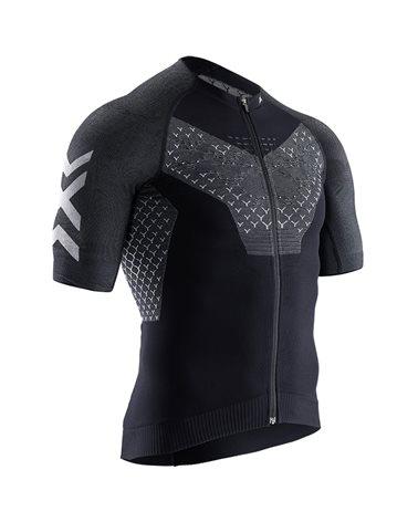 X-Bionic Twyce 4.0 Bike Zip SS Maglia Maniche Corte Uomo Full Zip, Opal Black/Arctic White