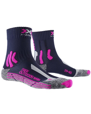 X-Bionic X-Socks 4.0 Trek Outdoor W Calze Trekking Donna, Midnight Blue/Pink Grey Melange