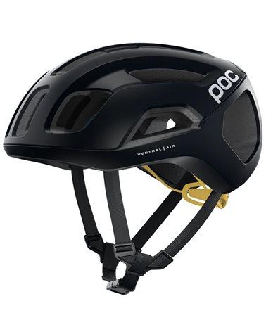 Poc Ventral Air Spin Road Cycling Helmet, Uranium Black/Sulphur Yellow Matt