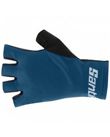 Santini Redux Istinto Long Summer Cycling Gloves, Petrol Green