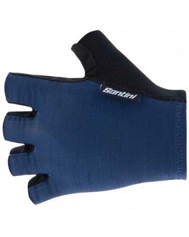 Santini Cubo Short Summer Cycling Gloves, Nautica Blue