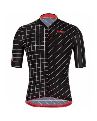 Santini Eco Sleek Dinamo Men's Short Sleeve Cycling Jersey, Black