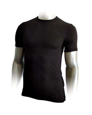 Mico Extra Dry Men's Round Neck Mesh Short Sleeve Baselayer, Black