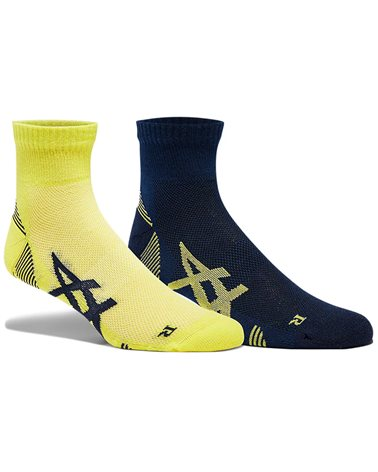 Asics 2PPK Cushioning Sock Calze Running, Peacoat/Sour Yuzu (2 Paia)