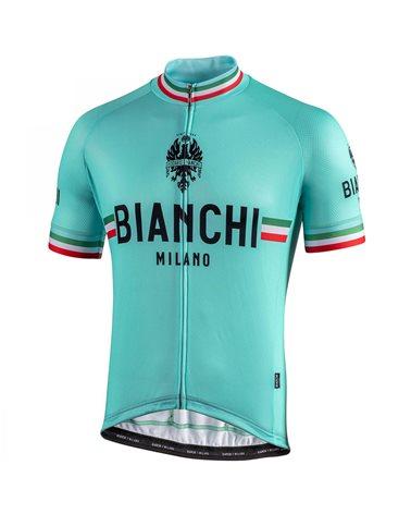 Bianchi Milano Isalle Men's Full Zip Short Sleeve Jersey, Celeste Bianchi