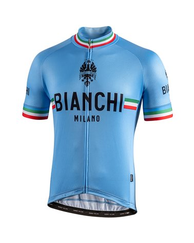 Bianchi Milano Isalle Men's Full Zip Short Sleeve Jersey, Celeste