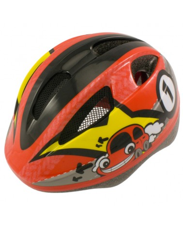 BTA Out-Mould Junior/Kids Bicycle Helmet, Red/Car Graph
