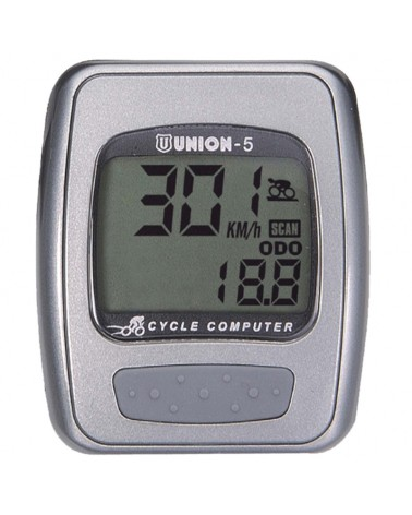 Union Marwi Wired Cycling Computer 5 Functions, Grey